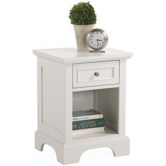 This contemporary white nightstand will blend well with many furniture styles. The table is constructed of sturdy poplar hardwood in a rich white finish, accented by brushed nickel hardware. A drawer and shelf provide storage for bedside essentials.
