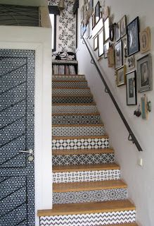 This staircase, located at Peacock Pavilions in Marrakesh, was hand stenciled by Royal Design Studio. You can buy the stencils through their website, and do it yourself. How to Get the Look of Patterned Cement and Encaustic Tile for Less Stenciled Stairs, Stenciled Floor, Painted Stairs, Floor Stencil, Style At Home, Tiles For Less, Home Design, Interior Design, Design Ideas