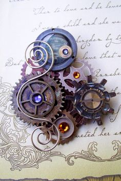 Steampunk Brooch A41  Industrial Gauge and by DesignsByFriston