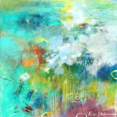 When the Rain Returns colorful abstract expressionist painting on canvas by Kerri Blackman
