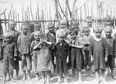 A group of young children gaze out at the photographer just prior to their execution by an Einsatzkommando. An estimated one million Jewish children died in the Holocaust, most of them in the gas chambers of the death camps. As the Germans swept into Soviet territory, they sometimes turned the task of killing Jewish children over to their Ukrainian allies.