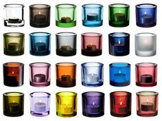 Iittala Kivi candle holders, all the colours Inside A House, Marimekko, Tea Light Holder, Colour Schemes, Glass Design, Colored Glass, Scandinavian Design, All The Colors, Finland