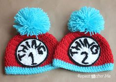 having TWINS?  Repeat Crafter Me: Thing 1 and Thing 2 Crochet Hats