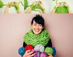 Aprenda a tricotar cachecol com os braços