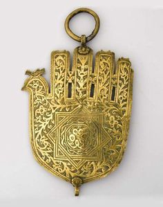 Morocco | Hamsa amulet; brass | Fez, c. 1920