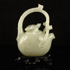 Chinese Qing Dynasty Hetian Jade Teapot 中國清代 和田玉 竹蘭 君子之交 提梁茶壺
