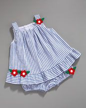 striped dress and bloomers for baby girl