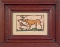 """Realized Price: $ 25,740   Vibrant southeastern Pennsylvania watercolor fraktur bookplate, early 19th c., depicting a yellow dog chasing four birds, 2 3/4"""" x 4 1/2"""". RICHARD MACHMER COLLECTION 2008"""