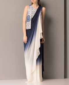 Navy and Ivory Drape Sari