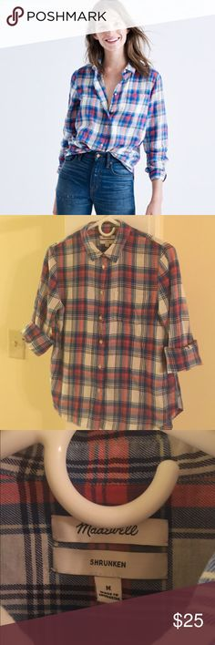 Madewell Plaid Shirt M Red White Blue Like New Madewell Tops Button Down Shirts