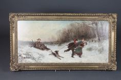 """James Crawford Thom, American 1835-1898, oil on wooden  panel study of children gathering wood with a sledge with a  winter wooded landscape 16""""h x 35""""w, signed and dated JC Thom 1867"""
