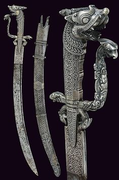 A silver mounted kastane, dating: circa 1800 provenance: Ceylon (Sri Lanka) Swords And Daggers, Knives And Swords, Cool Knives, Cool Swords, Martial Arts Weapons, Jaguar, Weapon Concept Art, Samurai Swords, Arm Armor