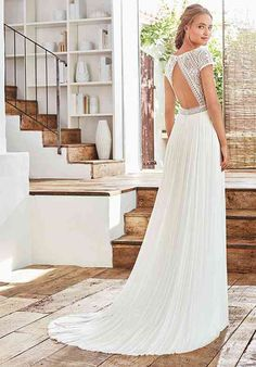 CALISTA A-line Wedding Dress by Rosa Clará - WeddingWire.com Bateau Wedding Dress, Queen Wedding Dress, Wedding Dress Brands, Wedding Dress Necklines, Open Back Wedding Dress, Amazing Wedding Dress, Top Wedding Dresses, Long Bridesmaid Dresses, Boho Wedding Dress