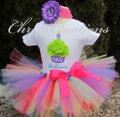 Baby Girl 1st Birthday Tutu Set--Party Outfit--3D Cupcake--Personalized--Photo Prop on Etsy, $58.00
