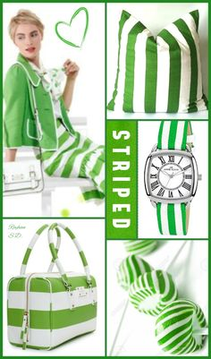 '' Striped- Green & White '' by Reyhan S. Color Combos, Color Schemes, Color Collage, Mood Colors, Color Me Beautiful, Color Palate, Collage Artists, Colour Board, Color Stories
