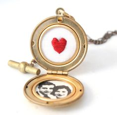 Sweet embroidered locket