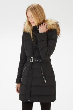 Coats & Jackets | Black Luxe Faux Fur Padded Parka | Warehouse