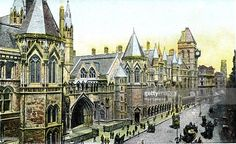 Law Courts, London, 20th Century. Designed in Victorian Gothic style by George Edmund Street, the Royal Courts of Justice on the Strand were opened by Queen Victoria in 1882. Postcard from The Souvenir Album, Views of London And The River Thames, From London To Oxford, (London, 20th Century).