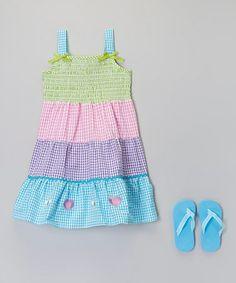 Look what I found on #zulily! Green & Pink Gingham Sundress & Flip-Flops - Toddler & Girls #zulilyfinds