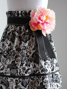 Black & White Floral Skirt Girls Size 56 by cherryblossomcloset, $20.00