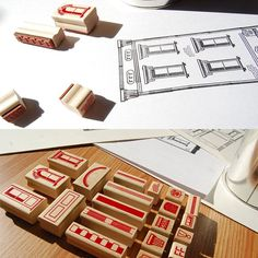 Set of 21 vulcanized rubber stamps, each depicting a single characteristic of Italianate-style architecture $52.