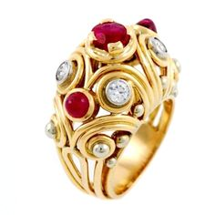 1STDIBS.COM Jewelry & Watches - Van Cleef & Arpels - VAN CLEEF & ARPELS Pink Gold, Ruby and Diamond Ring - Ottaviano