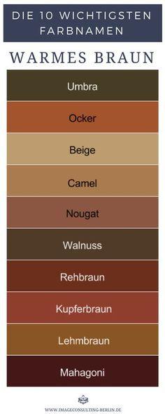 Warme Brauntöne Sind Umbra, Ocker, Beige, Camel, Nougat, Walnuss, Rehbraun