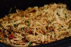Walk in the door at the end of the day to delicious, tender shredded chicken perfect for all of your Mexican-inspired dishes ~ http://www.fromvalerieskitchen.com