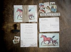 pretty equestrian-themed invitations for a country wedding, as seen on the Southern Weddings blog, invites by Inviting Affairs.