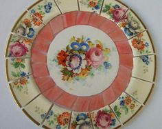 "Vintage China Mosaic Tile Set 6 1/4"" Arrangement Shabby Bold Pink Roses Flower Tesserae Iridescent Salmon Stained Glass  Mosaic Art Supplies"