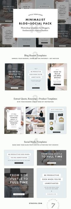 Minimalist Blog + Social Pack by Station Seven on @creativemarket