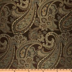 Eroica Candytuft Paisley Jacquard Cocoa from @fabricdotcom  This medium weight woven jacquard fabric is very versatile and perfect for window treatments (draperies, curtains, valances, swags), duvet covers, pillow shams, toss pillows, slipcovers and upholstery. Colors include mocha, teal and tan on a brown background.