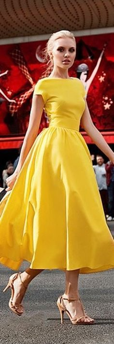yellow long prom dress,scoop neck ball gown,elegant custom made formal dress,306