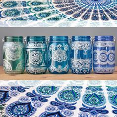 Hand Painted Moroccan Lanterns and Mason Jar Lamps by LITdecor. Not pinning for link. Pinning for inspiration. Use pattern. Bottle Painting, Dot Painting, Bottle Art, Ceramic Painting, Ceramic Art, Mason Jar Crafts, Mason Jar Lamp, Bottle Crafts, Moroccan Lanterns