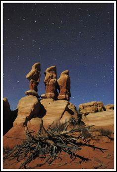 The beautiful rock formations of The Devil's Garden in Grand Staircase Escalante National Monument were good subjects for more experimenting with night photography. As with my previous night shot, all of the light here is from the moon. Beautiful World, Beautiful Places, Escalante National Monument, Grand Staircase, Travel Usa, Travel Tips, Natural Wonders, The Great Outdoors, State Parks