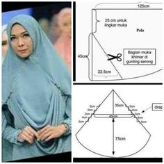 Draperi hijab Muslim Fashion, Hijab Fashion, Fasion, Sewing Hacks, Sewing Tutorials, Instant Hijab, Hijab Tutorial, Poncho, Pattern Drafting