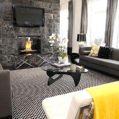 Black and Gray Living Room, Contemporary, living room, Atmosphere Interior Design