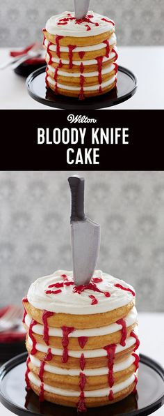 Your guests will be ready for a frighteningly good time when you serve this fake blood-splattered cake to celebrate Halloween. Easy to make, just mold the knife using Wilton® Candy Melts® Candy, bake the layers in the Easy Layers!™ Cake Pan Set and add the oozing red blood effect with Blood Red Sparkle.
