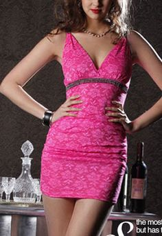 """Size: Bust: 68-96CM(26.77""""-37.80"""" )  Waist: 66-90CM(25.98""""-35.43"""" ) Hips: 74-102CM(29.13""""-40.16"""" )  Length: 75CM(29.53"""" )   Color: Red/White/Black/Yellow/Rose red/Blue  Material: Lace  Heat: Deep-V neckline/Rhinestone  Style: Sexy  If you want to be the party queen, this dress is what y..."""