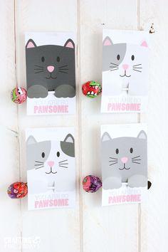 Free Printable Cat Valentine Day from CraftingE via thirtyhandmadedays.com