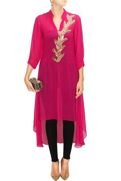 Pink pintucks embroidered kurta available only at Pernia's Pop-Up Shop.