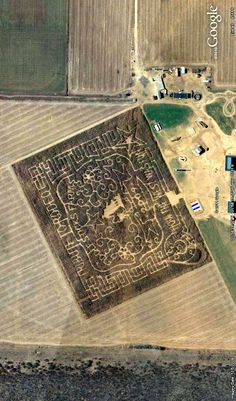 A crop maze east of Midland, Texas. Photographed in 2009. Image from Google Earth.