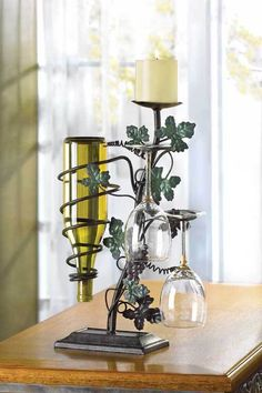 Grapevine Candle and Wine Holder (Kitchen) Wine Bottle Candle Holder, Glass Holders, Candle Holders, Metal Projects, Metal Crafts, Wine Stand, Wine Bottle Candles, Wine Decor, Iron Art