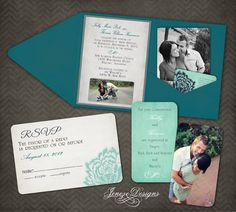 Custom Pocket Fold Wedding Invitations by Jeneze on Etsy, $35.00