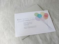 Balloon Invitation Set of 10 Birthday or Shower by bellapapergoods, $15.50