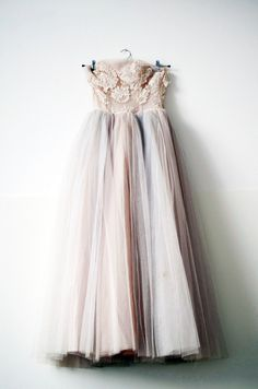 stunning vintage style gown, love the different hues in the skirt