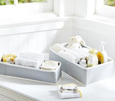 Gray Canvas Changing Table Storage | Pottery Barn Kids