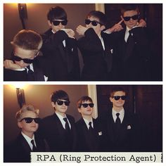 Ring Protection Agent. I have 4 nephews in the 12-15 age that I wanted to be a part of the wedding but too old for ring bearer and too many to add as groomsmen. This was a fun idea people seemed to love. Our Ceremony was very sweet, meaningful and this added just enough smiles. Two of the guys walked in first then the ring bearer then two behind. Protecting the ring bearer as he walked down the isle. The boys also wore the FBI ear pieces.