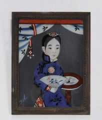 Pair of 19th C. Chinese Reverse on Glass Paintings thumbnail 3