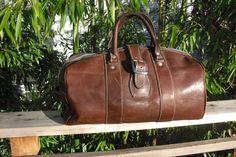 Vintage Rugged Leather Gym Bag on Etsy, $65.00